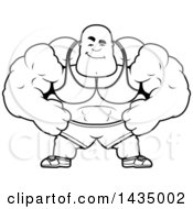 Clipart Of A Cartoon Black And White Lineart Smug Buff Muscular Black Bodybuilder Royalty Free Vector Illustration
