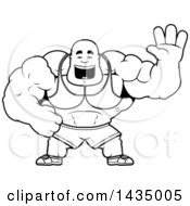 Clipart Of A Cartoon Black And White Lineart Buff Muscular Black Bodybuilder Waving Royalty Free Vector Illustration