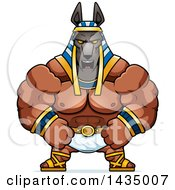 Clipart Of A Cartoon Mad Buff Muscular Anubis Royalty Free Vector Illustration