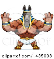 Clipart Of A Cartoon Buff Muscular Anubis Holding His Hands Up In Fear Royalty Free Vector Illustration
