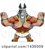 Clipart Of A Cartoon Cheering Buff Muscular Anubis Royalty Free Vector Illustration