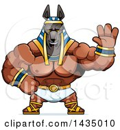Clipart Of A Cartoon Buff Muscular Anubis Waving Royalty Free Vector Illustration by Cory Thoman