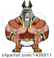 Clipart Of A Cartoon Buff Muscular Anubis Giving Two Thumbs Up Royalty Free Vector Illustration by Cory Thoman