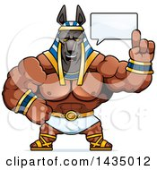 Clipart Of A Cartoon Buff Muscular Anubis Holding Up A Finger And Talking Royalty Free Vector Illustration