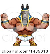 Clipart Of A Cartoon Buff Muscular Anubis Holding His Fists Up In Balls Of Rage Royalty Free Vector Illustration