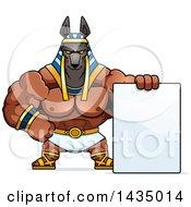 Cartoon Buff Muscular Anubis With A Blank Sign