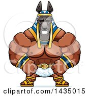Clipart Of A Cartoon Happy Buff Muscular Anubis Royalty Free Vector Illustration by Cory Thoman