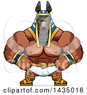 Clipart Of A Cartoon Smug Buff Muscular Anubis Royalty Free Vector Illustration