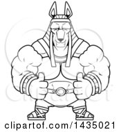 Clipart Of A Cartoon Black And White Lineart Buff Muscular Anubis Giving Two Thumbs Up Royalty Free Vector Illustration