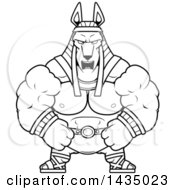 Clipart Of A Cartoon Black And White Lineart Mad Buff Muscular Anubis Royalty Free Vector Illustration
