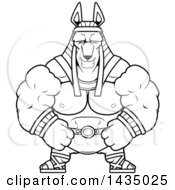Clipart Of A Cartoon Black And White Lineart Happy Buff Muscular Anubis Royalty Free Vector Illustration