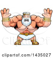 Clipart Of A Cartoon Buff Muscular Zeus Holding His Hands Up And Screaming Royalty Free Vector Illustration by Cory Thoman