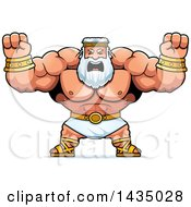 Clipart Of A Cartoon Buff Muscular Zeus Holding His Fists In Balls Of Rage Royalty Free Vector Illustration by Cory Thoman