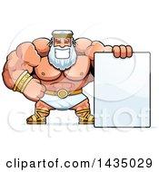Cartoon Buff Muscular Zeus With A Blank Sign