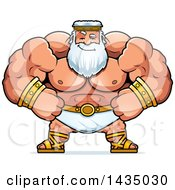 Clipart Of A Cartoon Smug Buff Muscular Zeus Royalty Free Vector Illustration by Cory Thoman