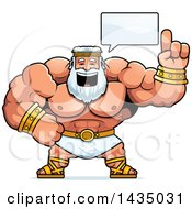Clipart Of A Cartoon Buff Muscular Zeus Talking Royalty Free Vector Illustration by Cory Thoman