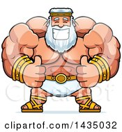 Clipart Of A Cartoon Buff Muscular Zeus Giving Two Thumbs Up Royalty Free Vector Illustration by Cory Thoman