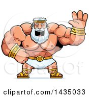 Clipart Of A Cartoon Buff Muscular Zeus Waving Royalty Free Vector Illustration by Cory Thoman