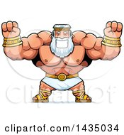 Clipart Of A Cartoon Buff Muscular Zeus Cheering Royalty Free Vector Illustration by Cory Thoman