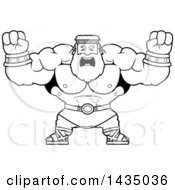 Clipart Of A Cartoon Black And White Lineart Buff Muscular Zeus Holding His Fists In Balls Of Rage Royalty Free Vector Illustration