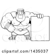 Clipart Of A Cartoon Black And White Lineart Buff Muscular Zeus With A Blank Sign Royalty Free Vector Illustration