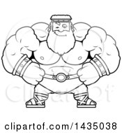 Clipart Of A Cartoon Black And White Lineart Smug Buff Muscular Zeus Royalty Free Vector Illustration