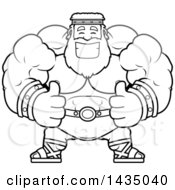 Clipart Of A Cartoon Black And White Lineart Buff Muscular Zeus Giving Two Thumbs Up Royalty Free Vector Illustration