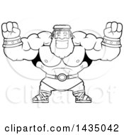 Clipart Of A Cartoon Black And White Lineart Buff Muscular Zeus Cheering Royalty Free Vector Illustration