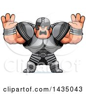 Clipart Of A Cartoon Buff Muscular Warrior Holding His Hands Up And Screaming Royalty Free Vector Illustration by Cory Thoman