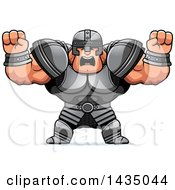 Cartoon Buff Muscular Warrior Holding His Fists In Balls Of Rage