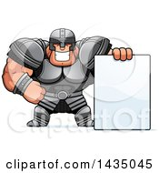 Clipart Of A Cartoon Buff Muscular Warrior With A Blank Sign Royalty Free Vector Illustration by Cory Thoman