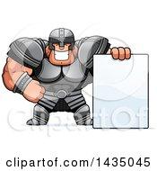 Cartoon Buff Muscular Warrior With A Blank Sign