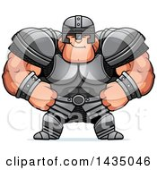 Clipart Of A Cartoon Smug Buff Muscular Warrior Royalty Free Vector Illustration
