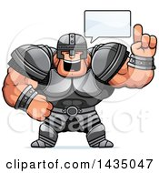 Clipart Of A Cartoon Buff Muscular Warrior Talking Royalty Free Vector Illustration by Cory Thoman