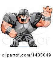 Clipart Of A Cartoon Buff Muscular Warrior Waving Royalty Free Vector Illustration by Cory Thoman