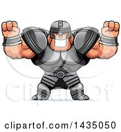 Clipart Of A Cartoon Buff Muscular Warrior Cheering Royalty Free Vector Illustration