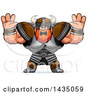Clipart Of A Cartoon Buff Muscular Viking Warrior Holding His Hands Up And Screaming Royalty Free Vector Illustration by Cory Thoman