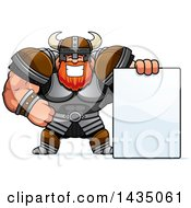 Clipart Of A Cartoon Buff Muscular Viking Warrior With A Blank Sign Royalty Free Vector Illustration by Cory Thoman