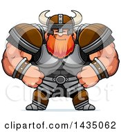 Clipart Of A Cartoon Smug Buff Muscular Viking Warrior Royalty Free Vector Illustration
