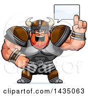 Clipart Of A Cartoon Buff Muscular Viking Warrior Talking Royalty Free Vector Illustration by Cory Thoman