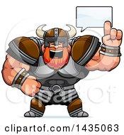 Clipart Of A Cartoon Buff Muscular Viking Warrior Talking Royalty Free Vector Illustration by Cory Thoman