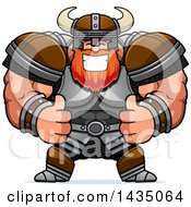 Clipart Of A Cartoon Buff Muscular Viking Warrior Giving Two Thumbs Up Royalty Free Vector Illustration by Cory Thoman