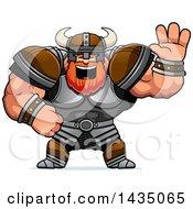 Clipart Of A Cartoon Buff Muscular Viking Warrior Waving Royalty Free Vector Illustration by Cory Thoman