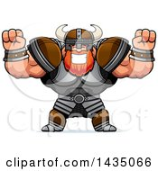 Clipart Of A Cartoon Buff Muscular Viking Warrior Cheering Royalty Free Vector Illustration