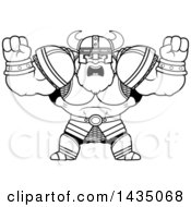 Cartoon Black And White Lineart Buff Muscular Viking Warrior Holding His Fists In Balls Of Rage