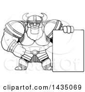 Cartoon Black And White Lineart Buff Muscular Viking Warrior With A Blank Sign