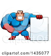 Clipart Of A Cartoon Buff Muscular Male Super Hero With A Blank Sign Royalty Free Vector Illustration by Cory Thoman