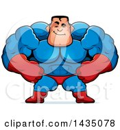 Clipart Of A Cartoon Smug Buff Muscular Male Super Hero Royalty Free Vector Illustration