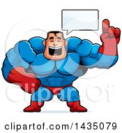 Clipart Of A Cartoon Buff Muscular Male Super Hero Talking Royalty Free Vector Illustration by Cory Thoman
