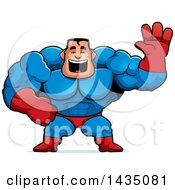 Clipart Of A Cartoon Buff Muscular Male Super Hero Waving Royalty Free Vector Illustration by Cory Thoman